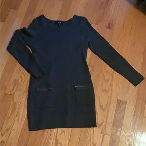 Dark Gray Sweater Dress with two front pockets